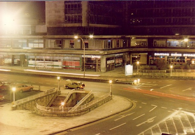 Forster Square and Petergate at night, Jan 1980