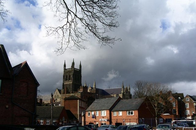 Worcester Cathedral is visible from many viewpoints across the city