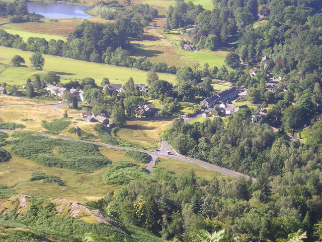 Elterwater village from Dow Bank