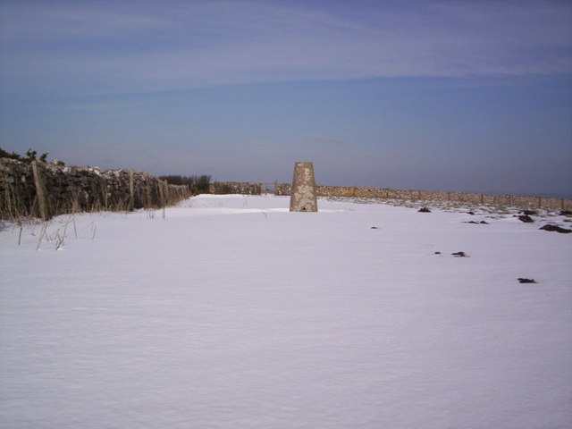 Trig point, Swyre Head in the snow