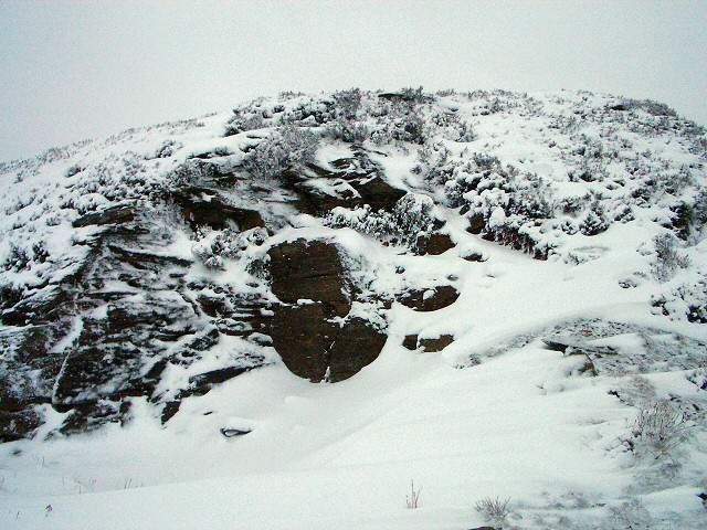 Rocky outcrop under snow
