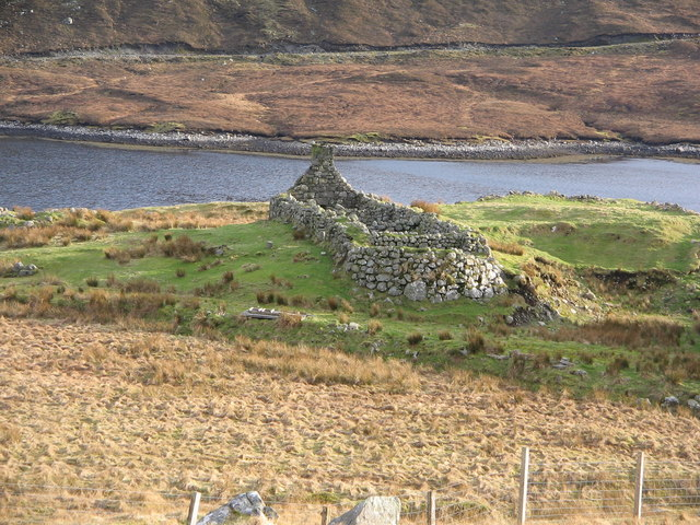 Ruin on shore of Loch Seaforth, Isle of Lewis