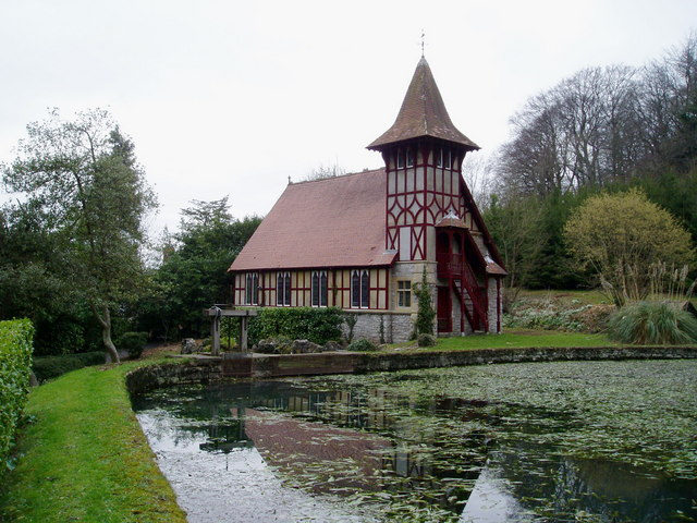 Church and millpond at Rickford
