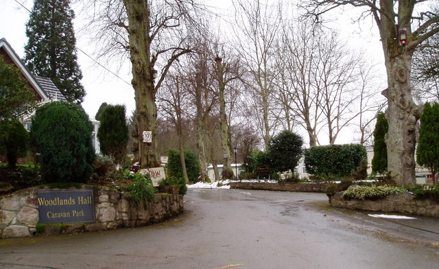 Entrance to Woodlands Hall Caravan Park