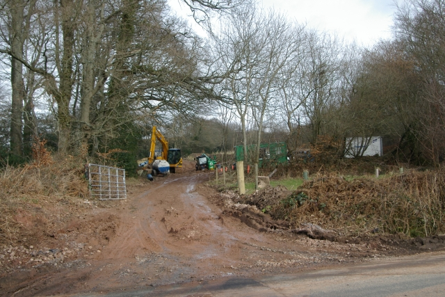 Water main works, Four Firs, Woodbury Common, Devon
