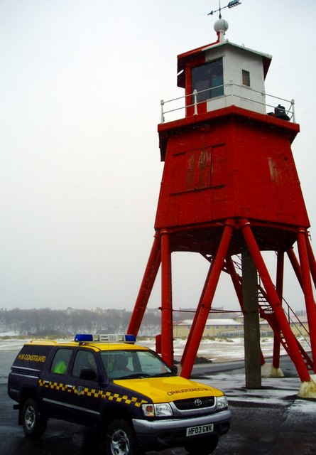 Coastguard Patrol on the Groyne , South Shields.