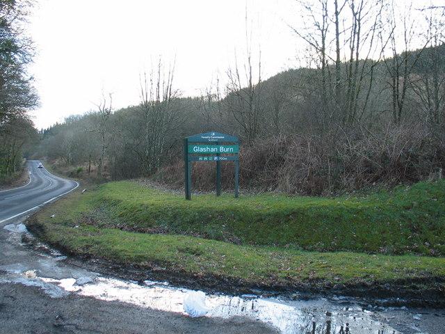 Forestry sign for Glashan Burn by Lochgair.
