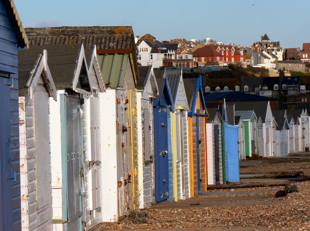 Beach Huts at Bulverhythe, West St Leonards on sea. March 2006.