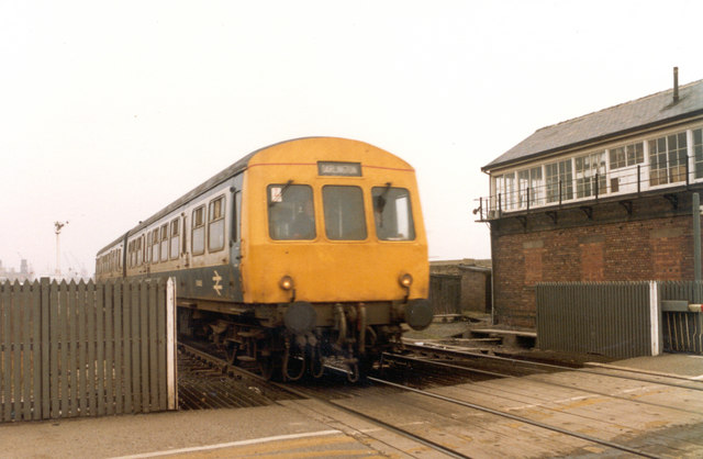 Class 101 DMU British Rail Regional Railways passing over railway crossing in Hartlepool, April 1986.