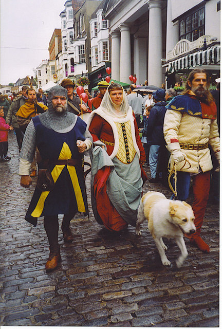 Historical Procession on Guildford's Cobbled High Street.