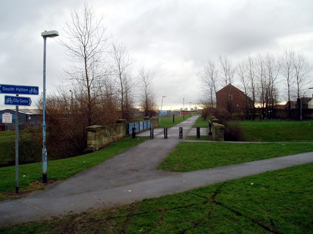 Site of old railway station and line, Pallion, now part of the Coast to Coast cycle route, 28th January 2006.