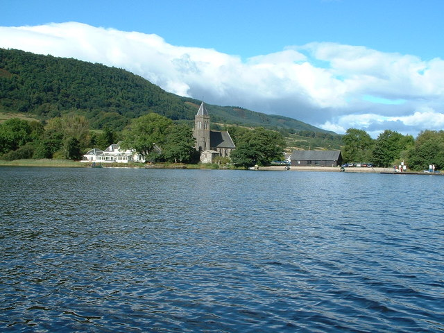 Hotel and Priory from Lake of Menteith