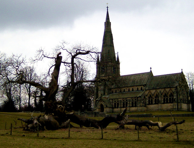 St Mary's, Studley, with large Sweet Chestnut in foreground
