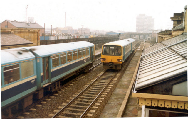 Trains passing at Monkwearmouth Station Museum, 6th April 1987
