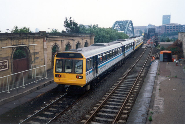 Train approaching the Wearmouth Rail Bridge, 1994.