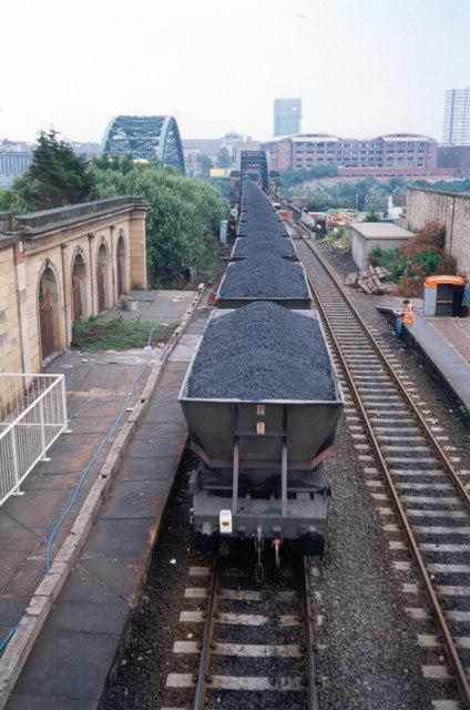 Coal train approaching the Wearmouth Rail Bridge, Sunderland, 1994