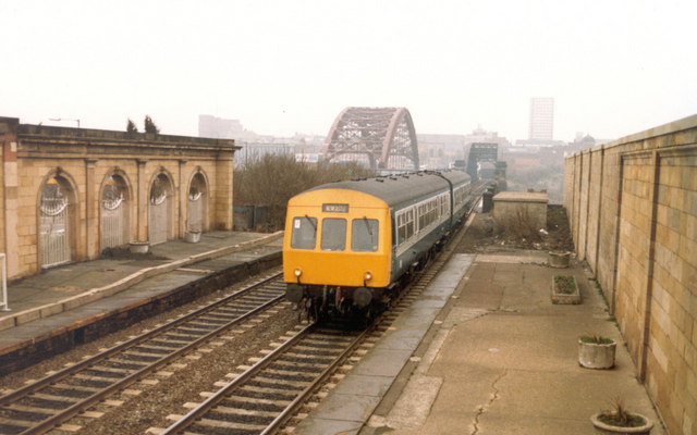 Train passing through Monkwearmouth Station Museum, 6th April 1987