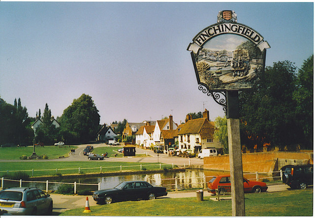 Finchingfield, Village Pond and Sign.