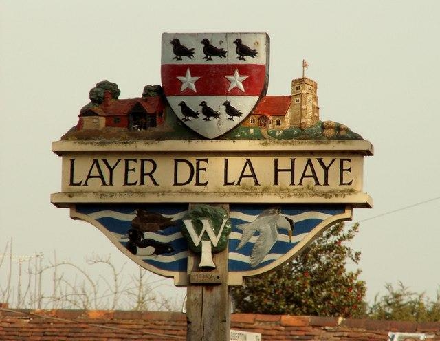 Layer de la Haye village sign, Essex