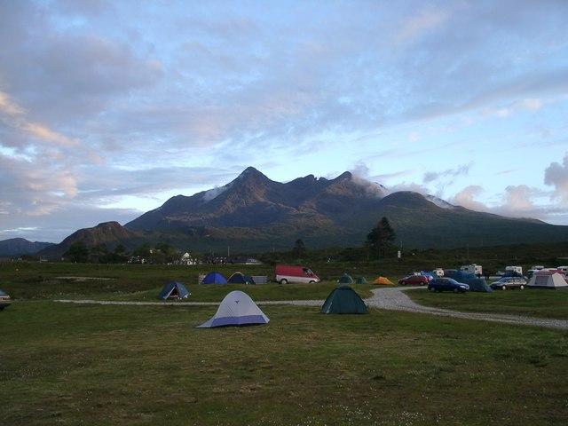 Sligachan campsite and Black Cuillin