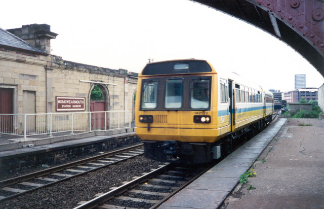 Train passing through Monkwearmouth Station Museum, Sunderland, 1994.