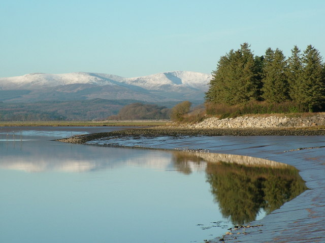 The Point Nets Creetown, with snow covered Larg in the background