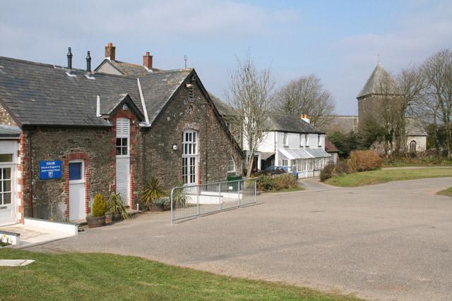 Duloe: junior school and church