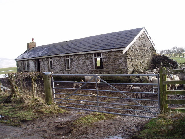 Ruined farmhouse near Mynydd Cricor.