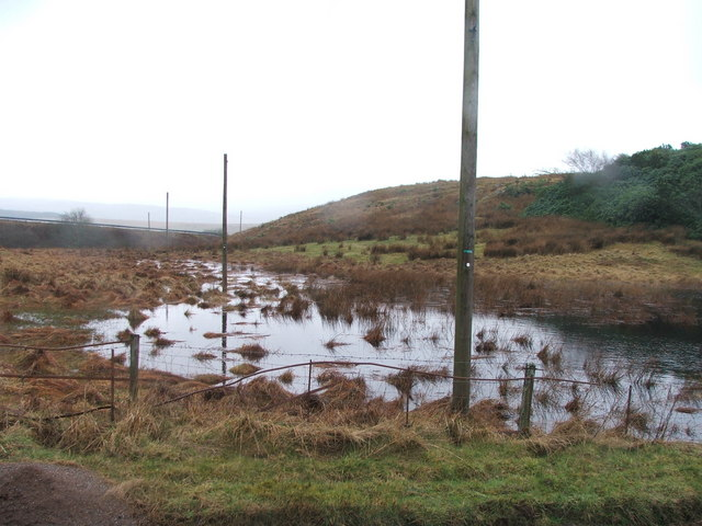 Flooded land between the A83 and the Quinhill road.