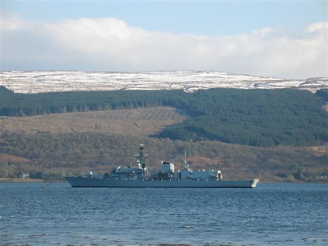 HMS Argyll moored off Inveraray.