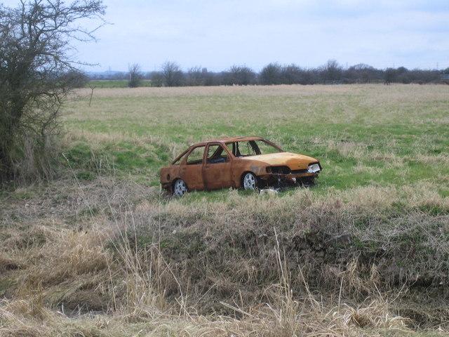 Burnt out car, Smithy Marsh