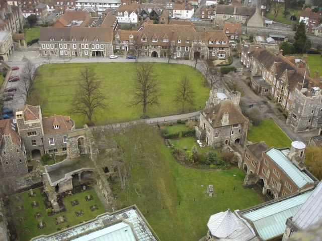 View from Bell Harry Tower of Canterbury Cathedral