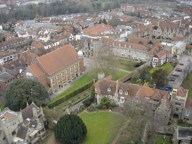 View to N from Bell Harry Tower of Canterbury Cathedral