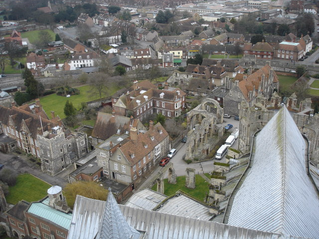View NE from Bell Harry Tower of Canterbury Cathedral