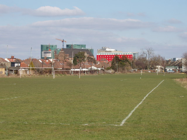 Football pitch, view to Gipsy Corner, North Acton