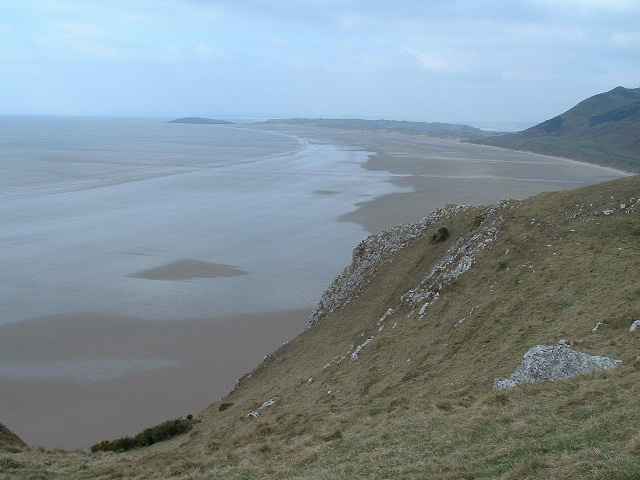 Rhossili Bay beach looking north from Old Castle