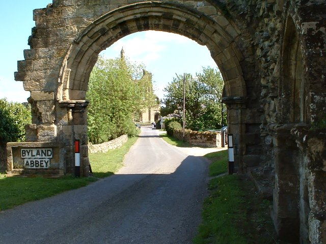 Byland Abbey seen through the ruined Gatehouse