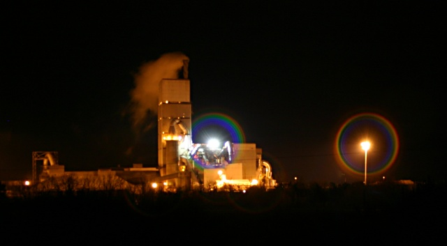 Cement works at night