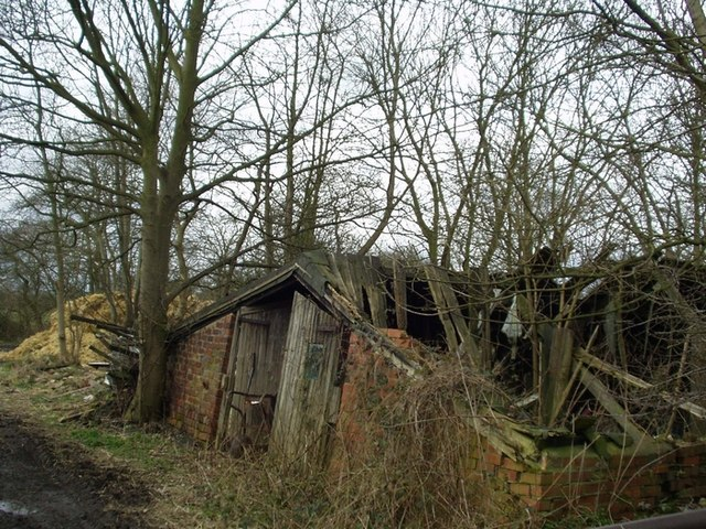 Collapsed farm building