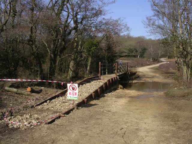 Footbridge under construction at Pebble Ford, New Forest