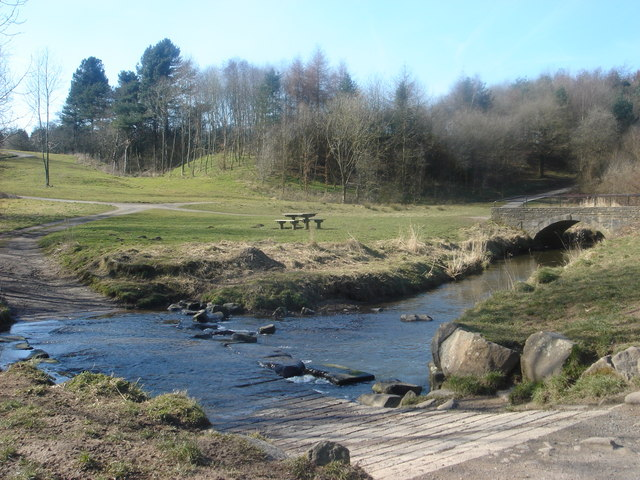 Ford and bridge over the River Lostock at Cuerden Valley Park