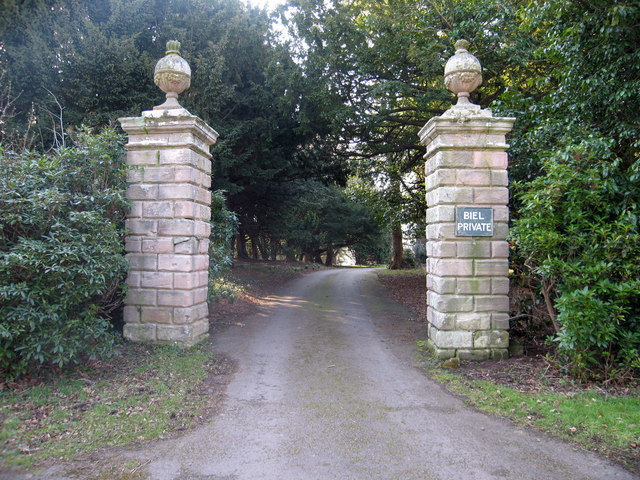 Entrance pillars to Biel, East Lothian