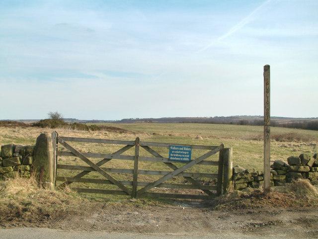 Bridleway  entrance to Longside Moor.