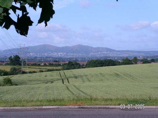 The Malverns seen from the roundabout beside the Blind college