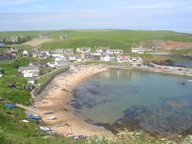 Collieston beach, harbour and village