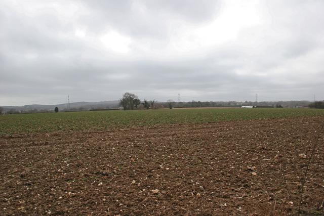 Looking southwest across farmland