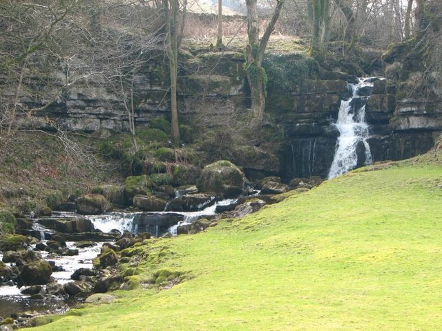 The waterfall across the road from Scar House Farm