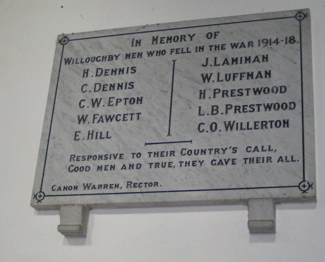 Willoughby World War 1 Plaque