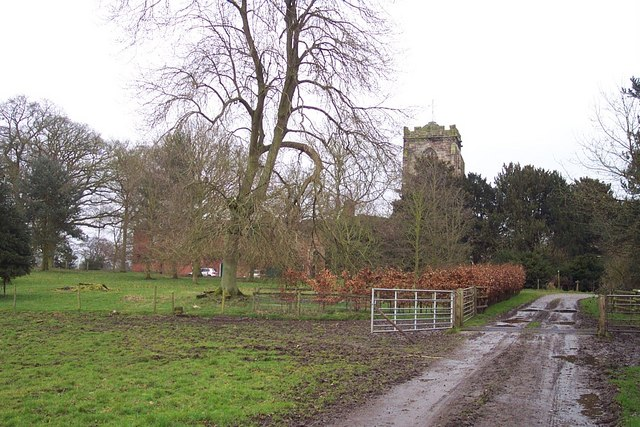 Ruined Tower of Ranton Abbey from Bridleway