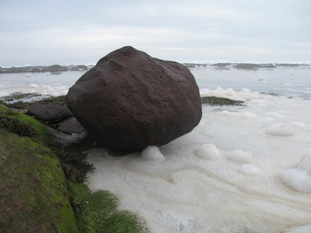 Foamy sea, Seacliff beach, East Lothian
